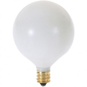 Satco S3823 15 watt G16 1/2 Incandescent Satin White 1500 average rated hours 94 lumens; Candelabra base 120 volts