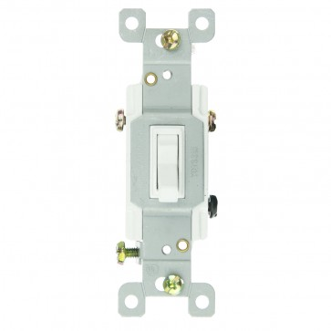 Sunlite 08040 E507/CD 3 Way Grounded Toggle Wall Switch, White