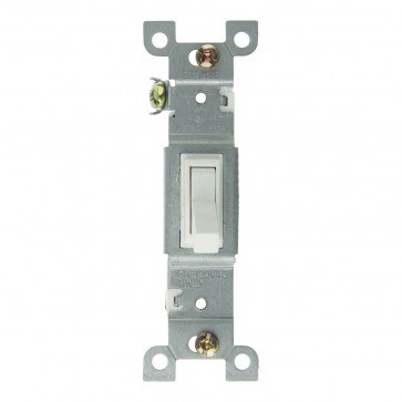 Sunlite 08100 E505 On/Off Grounded Toggle Wall Switch, White