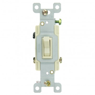 Sunlite 08115 E508  3 Way Grounded Toggle Wall Switch, Ivory