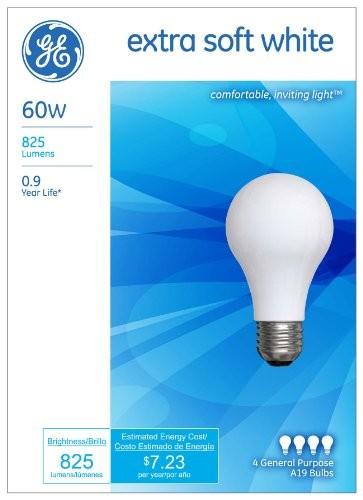 GE Lighting 48415 60-Watt 825-Lumen General Purpose A19 Incandescent Light Bu...