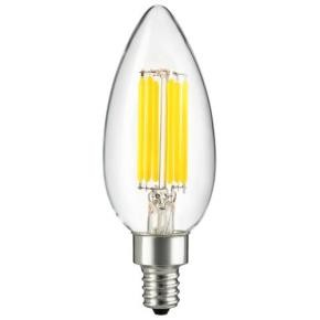 Sunlite 80647 CTC/LED/AQ/6W/E12/D/CL/E/27K 6 Watt Torpedo Tip Filament Chandelier LED Light Bulbs, Candelabra (E12) Base, Warm White