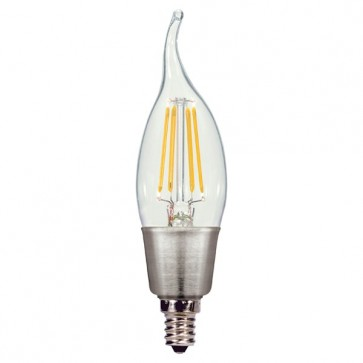 Satco S9572  2.5W CFC/LED/27K/120V  2.5 watt CA11 LED Clear Candelabra base 2700K 250 lumens 120 volts