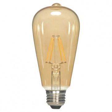 Satco S9577  2.5ST19/AMB/LED/E26/20K/120V  2.5 watt ST19 LED Transparent Amber Medium base 2000K 220 lumens 120 volts