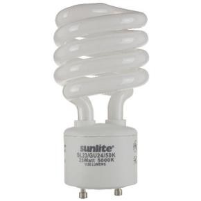 Sunlite 00793 SL23/GU24/50K 23 Watt GU24 Sprial Energy Saving Light Bulb, GU24 Base, Super White