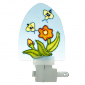 Sunlite 04033 E110 Colored Stained Glass Decorative Night Light, Blue