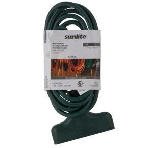 Sunlite 04176 EX9/TT/16/G  Outdoor Tri-Tap Extension Cord 9-Feet, Green Wire