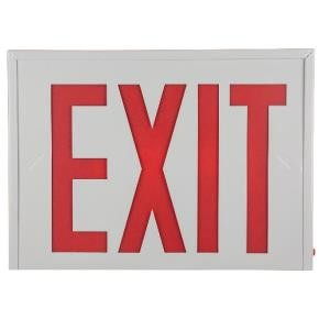 Sunlite 04307 EXIT/SU/1-2F/R/W/EM/NYC Surface Mount Exit Light, White Plastic Housing, Single Faced White Plate, Red Letters, Emergency Backup Battery, NYC Approved