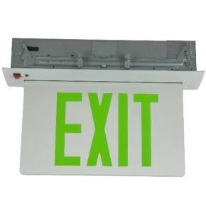 Sunlite 04329 EXIT/EDGE/RC/1GF/CL/WH/EM Green LED Edge Lit Emergency Exit Sign