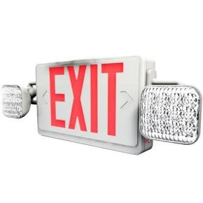 Sunlite 04352 EXIT/SU/1OR2F/R/W/COMBO/2H Two Headed LED Exit & Emergency Light Combo