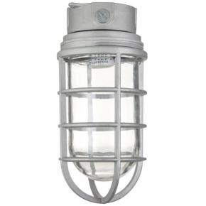 Sunlite 04987 VT201 Ceiling Mount Vaporproof Industrial Fixture, Metallic Finish, Clear Glass, 3/4 piping