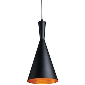 "Sunlite 07028 PD/IC/7 7"" Cone Pendant Vintage Antique Style Fixture, Matte Black Finish"