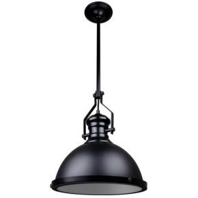 Sunlite 07044 AQF/IS/1PD/MB  Round Shade Pendant Vintage Antique Style Fixture, Matte Black Finish