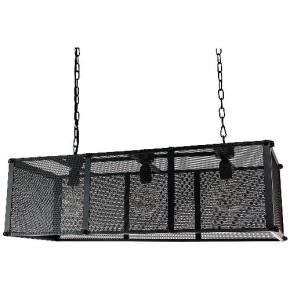 Sunlite 07078 AQF/NC/PD/R  Rectangle Net Cage Pendant Vintage Antique Style Fixture, Matte Black Finish