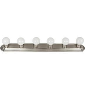 Sunlite 45200 B636/BN 6 Lamp Vanity Globe Style Fixtures, Brushed Nickel Finish