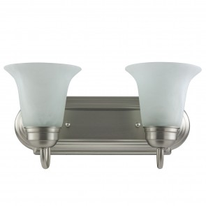 Sunlite 45430 B214/BN/AL 2 Lamp Vanity Decorative Sconce Fixture, Brushed Nickel Finish, Alabaster Glass