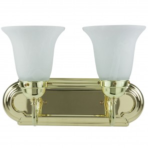 Sunlite 45450 B214D/PB/AL 2 Lamp Vanity Decorative Sconce Fixture, Polished Brass Finish, Alabaster Glass