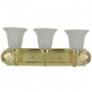 Sunlite 45455 B324D/PB/AL 3 Lamp Vanity Decorative Sconce Fixture, Polished Brass Finish, Alabaster Glass