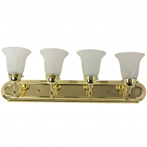 Sunlite 45460 B430D/PB/AL 4 Lamp Vanity Decorative Sconce Fixture, Polished Brass Finish, Alabaster Glass