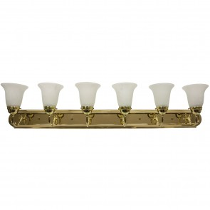 Sunlite 45465 B648D/PB/AL 6 Lamp Vanity Decorative Sconce Fixture, Polished Brass Finish, Alabaster Glass