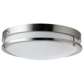"Sunlite 45567 LFX/DCO14/BN/20W/40K/EM 20 Watt 14"" Decorative Band Trim Brushed Nickel Ceiling LED Light Fixtures With Emergency Back Up, Cool White"