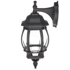 Sunlite 47070 ODI1070/BK  Down-Facing Carriage Style Outdoor Fixture, Black Powder Finish, Clear Beveled Glass