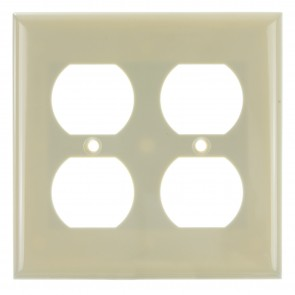 Sunlite 50612 E212/I 2 Gang Duplex Receptacle Plate, Ivory