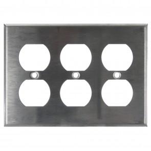 Sunlite 50650 E213/S 3 Gang Duplex Receptacle Plate, Steel