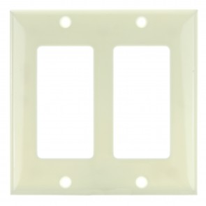 Sunlite 50717 E302/A 2 Gang Decorative Switch and Receptacle Plate, Almond