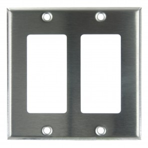 Sunlite 50718 E302/S 2 Gang Decorative Switch and Receptacle Plate, Steel