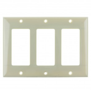 Sunlite 50737 E303/I 3 Gang Decorative Switch and Receptacle Plate, Ivory