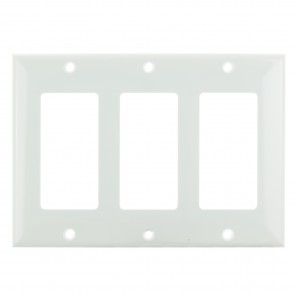 Sunlite 50742 E303/W 3 Gang Decorative Switch and Receptacle Plate, White