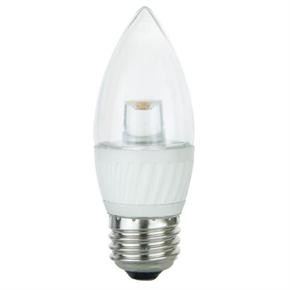 Sunlite 80372, 4.5-Watt Replaces 25-Watt, Clear Torpedo Tip Chandelier, 300 Lumens, Medium E26 Base, Warm White, Dimmable, LED Light Bulb
