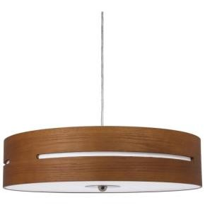 """Sunlite 88724 LFX/WC/PD/D/13W/S 20"""" LED Wooden Cylinders Pendant Fixture, Brushed Nickel"""