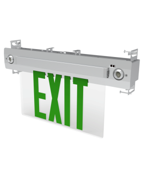 "GreenBeam EX627G  6"" Steel LED Edge Lit Universal Exit Combo Green"