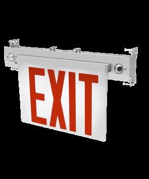 "GreenBeam EX627R  6"" Steel LED Edge Lit Universal Exit Combo Red"