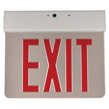 Sunlite 04318 EXIT/EDGE/SU/1RF/MI/WH/EM/NYC Surface Mount Edge-Lit Exit Light, White Housing, Single Faced Mirrored Plate, NYC Approved, Emergency Backup Battery, Universal Mounting Plate Included