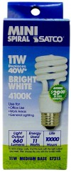 Satco S7215  11T2/41 11 watt  Mini Spiral Compact Fluorescent 4100K 82 CRI Medium base 120 volts