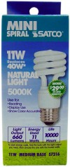 Satco S7216  11T2/50 11 watt Mini Spiral Compact Fluorescent 5000K 82 CRI Medium base 120 volts