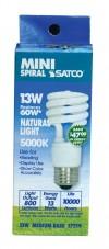 Satco S7219  13T2/50 13 watt Mini Spiral Compact Fluorescent 5000K 82 CRI Medium base 120 volts