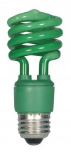 Satco S7272  13T2/Green 13 watt Mini Spiral Compact Fluorescent 82 CRI Medium base 120 volts