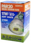 Satco S7207    11PAR20/27     11 watt PAR20 Compact Fluorescent 2700K 82 CRI Medium base 120 volts