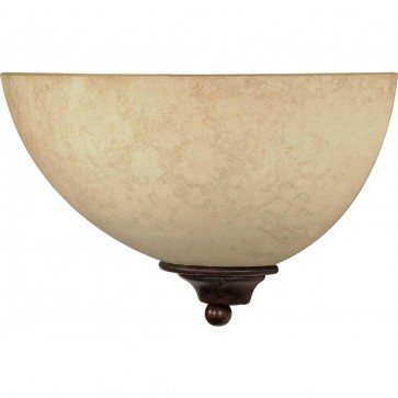 """Satco 60-044,TAPAS 1 LT WALL SCONCE, Old Bronze Finish,Tapas - 1 Light 12"""" Sconce with Tuscan Suede Glass - Old Bronze Finish"""