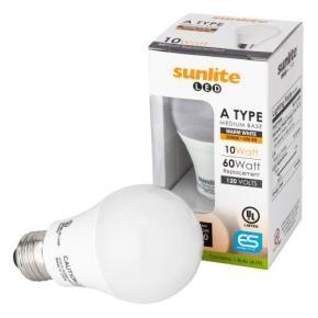 Sunlite 80710 A19/LED/10W/30K 10 Watt A19 Household LED Light Bulb, Medium (E26) Base, Warm White