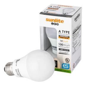 Sunlite 80826 A19/LED/14W/D/30K 14 Watt A19 LED Household Light Bulbs, Medium (E26) Base, Warm White