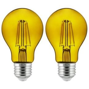 Sunlite 81084 A19/LED/FS/4.5W/TY/2PK 4.5 Watt A19 Colored Transparent LED Light Bulb, Filament Style, Medium (E26) Base, Yellow, 2 Pack