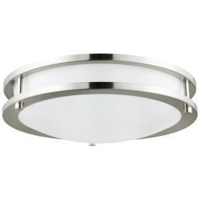 Sunlite 88316 LFX/DCO12/BN/17W/D/50K LED Flush Mount Double Band Ceiling Fixture, 17 Watt, Dimmable, Brushed Nickel Finish, 12-Inch 5000K Super White