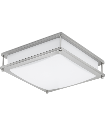 """GreenBeam CLARITY16 LED Clarity Flush Mount 16"""", Brushed Nickel, Square, 180-Watt Equivalent, Dimmable, 4000K Cool White"""