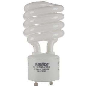 Sunlite 00793 SL23/GU24/50K 23 Watt GU24 Sprial Energy Saving Light Bulb, GU24 Base, Super White