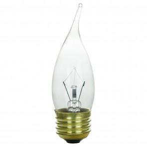 Sunlite 01555 60 Watt Flame Tip Chandelier Light Bulb, Medium Base, Clear, 2 Pack